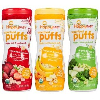 Harga Happy Baby Organic Puffs Mixed 3 Pack (Apple, Banana & Strawberry)
