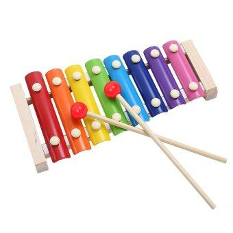 Harga Wooden 8 Key Notes Xylophone Toys Hand Knock Piano Music Instrument for 1-10 Years Old Kids