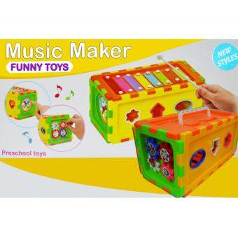 Harga 4 In 1 Music Maker/Block Puzzle/Clock Toys For Kids