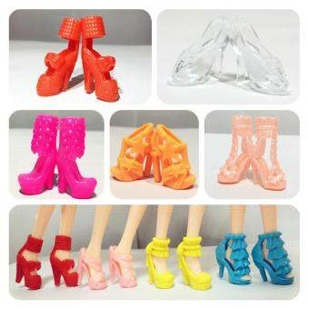 Harga 10 Pairs of Doll Shoes High Heel Shoes Boots Accessories for 11in Barbie Doll (Style Random)