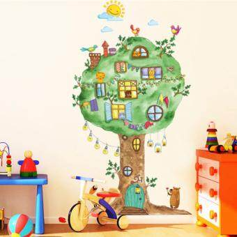 Harga Cartoon Big Tree Animals Kingdom Paradise Birds Lions Wall Sticker Decal Home Paper PVC Murals House Wallpaper Bedroom Kids Babys Living Room Art Picture Decoration