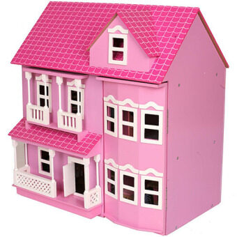Harga Brand New Mamakiddies Pink Victorian Wooden Dolls House
