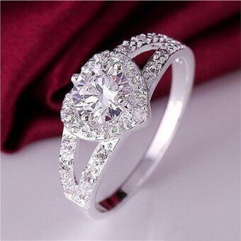 Harga Lovely Lady Silver Plated Crystal Love Heart Shaped Ring Bridal Wedding Jewelry Silver Size6