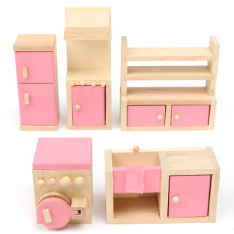 Harga Miniature House Family Children Wooden Furniture Doll Set Kit Toys Accessories