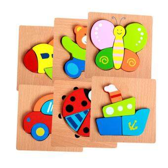 Harga (Ladybird)Toddler Kid Educational Wooden Board Block Animal Shape 3D Jigsaw Puzzle Toys