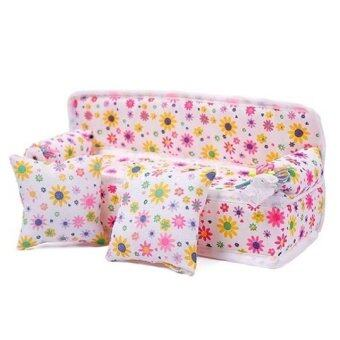 Harga Cute baby girl's toys Mini Furniture Flower Sofa Couch Cushions For Doll House Accessories Pink