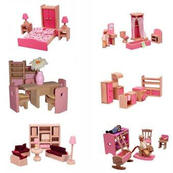 Harga Mamakiddies Pink Wooden Doll House Furniture Set of 6 Rooms,