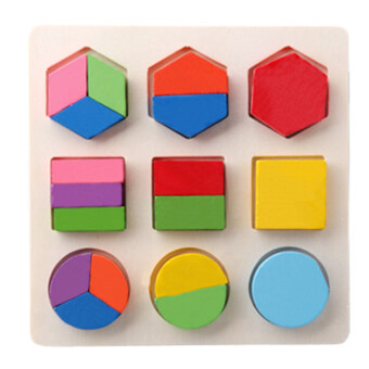Harga 360WISH 9-Piece 3D Geometric Shape Cognition Classification Matching Board Panels Jigsaw Puzzle Building Block Wooden Childhood Early Educational Toy - Type 3