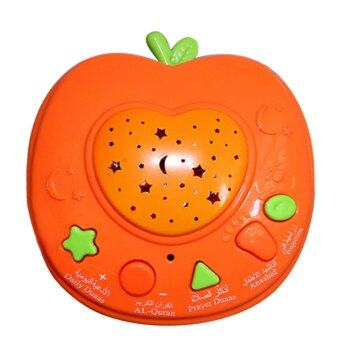 Harga Mini Muslim Quran Learning Machines Arabic Auran Koran Apple Shape Stories Teller Coran Learning Toys With LED Light Projection Orange