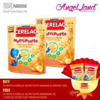 Harga [Best Buy For 2] Nestle Cerelac Nutri Puffs Banana & Orange 12M+ (50G)X2 (Foc 2X Random Nestle Cerelac Nutri Puffs 7G+1X Nestle Cerelac Nutri Puffs Premium Bowl)