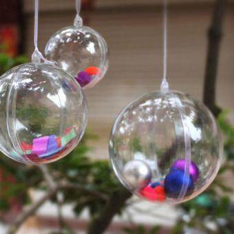 Harga 5x Plastic Round Ball Christmas Clear Bauble Ornament Gift Present Xmas Tree Craft 12cm