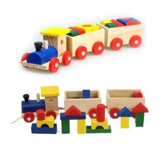 Harga 360WISH Three Section Pull Along Train with Building Blocks Children Baby Educational Wooden Toys