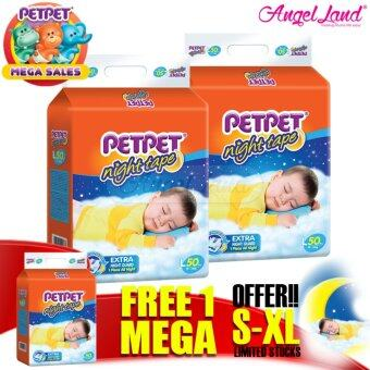 Harga [Mega Sales Deal~2FOC1] PETPET Night Tape Diaper Mega Packs L50 (3packs)