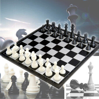 Harga 25*25*2cm Portable 2 in 1 Magnetic Fodable International Chess/Checkers Board Games Toy