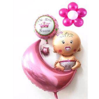 Harga New Born Baby Balloon Aluminum Foil Balloons for Baby Girl Happy Birthday Party Decoration(Pink)