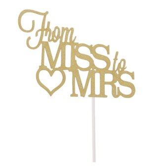 Harga Wedding Party from miss to mirs Heart Cake Topper Cupcake Pick Decor Gold
