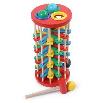 Harga Toys Games Basic Life Skills Toys Baby Kids Wooden Knock Ball Ladder Game With Hammer(Colormix)