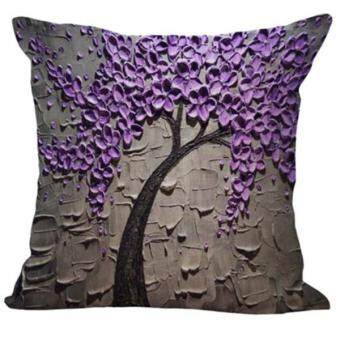 Harga BolehDeals Three-dimensional Oil Painting Tree Flower Cushion Cover Pillow Case #2