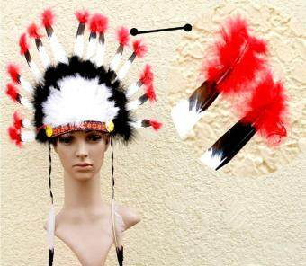 Harga leegoal Indian Feathers Headdress Native American Chief Head Dress For Adult And Kids Halloween Costumes Party, Black+White+Red 23x14inch