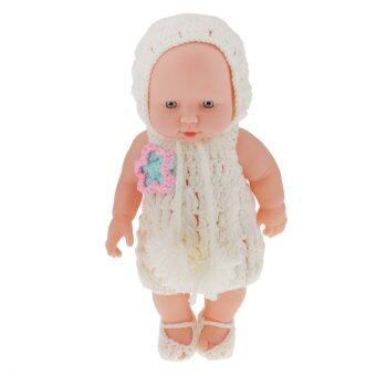 "Harga BolehDeals 11"" Lifelike Baby Dolls Silicone Vinyl Soft Newborn Doll in White Knit Suit"