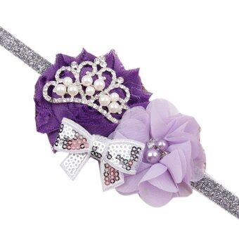 Harga Toddler Infant Crystal Crown Flower Bowknot Headbands Baby Soft Diamond Fabric Hair Band Purple