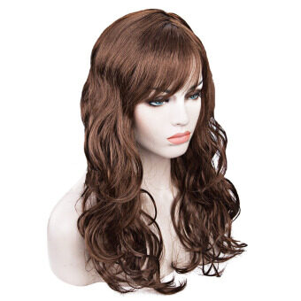 Harga Women Long Big Wavy Wig Hair Cosplay Party Costume(Coffee)