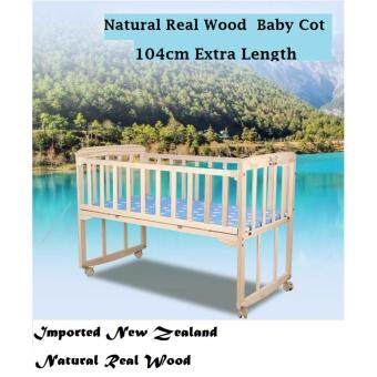 Harga Baby Cot Baby Crib Cradle Natural Wooden Rocking + FEW FREE GIFTS (White Happy Monkey Design)