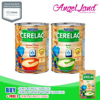 Harga [Bundle Deals] Nestle Cerelac Rice (500G) x1 +Nestle Cerelac Wheat Honey (500G) x1 Get Free x2 Nestle Cerelac Rice (100G)