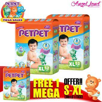 Harga [Mega Sales Deal~2FOC1] PETPET Tape Diaper Mega Packs XL52 (3packs)