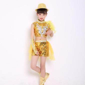 Harga Lemon Childrens Jazz Dance Costumes Sequined Dress Performance Clothing