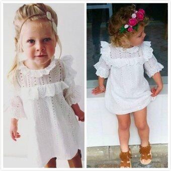 Harga Summer Baby Toddlers Cotton Lace Ruffles Dress Girls Princess Hollow Out Half Trumpet Sleeve Dress Children Kids White Dress Clothing Wear