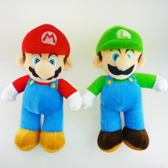 Harga 2pcs/lot 10'' Super Mario Bros Stand Mario & Luigi Plush Doll Soft Plush Stuffed Toy peluches mario bros Dolls Retail Baby Gift