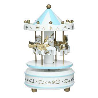 Harga niceEshop Carousel Music Box Wooden Merry-Go-Round Horse Music Box Christmas Gift,White+Blue