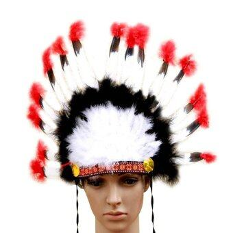 Harga niceEshop Indian Feathers Headdress Native American Chief Head Dress for Adult and Kids Halloween Costumes Party, Black+White+Red 23x14inch
