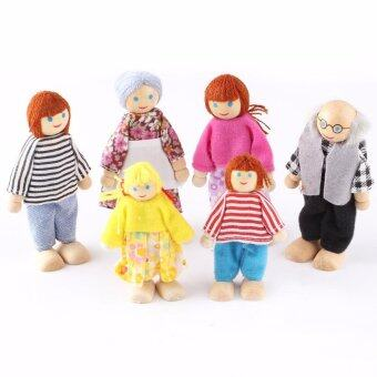 Harga 6 PCS/Set Action Figure Wooden Toy House Pretend Doll Family Children Kids Playing Dolls for Girls Ragdoll Kids Toys