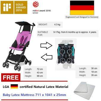 Harga ( Germany brand ) GB pockit stroller FREE LATEX MATTRESS - 4.3Kg light weight - compact folding (Guiness Record) - 2 years warranty - Red dot design award