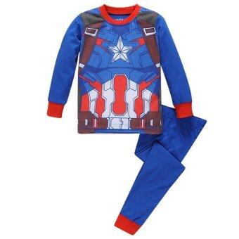 Harga Realeos Baby Boys Long Sleeve T-shirt Top V Pant Captain America Set (Captain America)