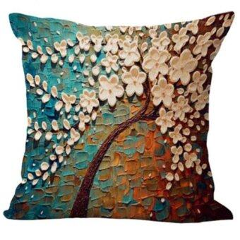Harga BolehDeals Three-dimensional Oil Painting Tree Flower Cushion Cover Pillow Case #3