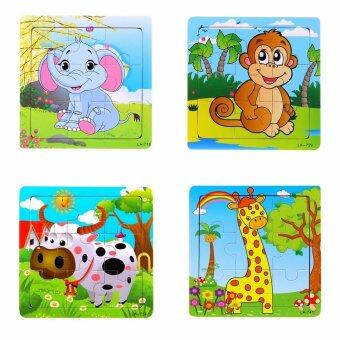 Harga Happy Zoo 4 x Animals Baby Wooden Jigsaw Puzzle