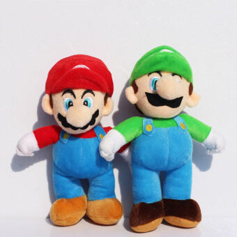 Harga Retail 2pcs 10inch High Quality Super Mario Bros Stand Mario Stand Luigi Soft Plush Doll
