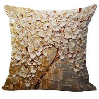 Harga BolehDeals Three-dimensional Oil Painting Tree Flower Cushion Cover Pillow Case #10