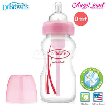 Harga Dr Brown´s Wide Neck ˝OPTIONS˝ 270ml Single Bottle Level 1 Silicone Nipple 0m+ - Pink (30666)
