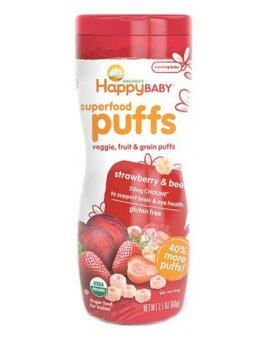 Harga Happy Baby Organic Puffs Strawberry (Gluten Free) 60g