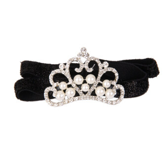 Harga Infant Baby Rhinestone Pearl Crown Hair Bands Photography Headband - Black