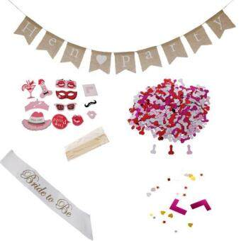 Harga MagiDeal Hen Party Set Photo Prop+bride to be Sash+Hen Party Banner+Table Confetti
