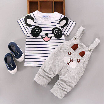 Ishowmall 2PCS Newborn Kids Baby Boy Girls T-shirt Tops+Pants Overalls Outfits Clothes Set Grey