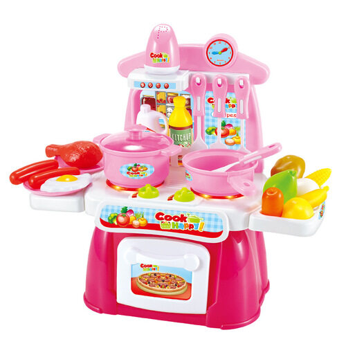 Kids Kitchen Play Set [31cm] with Lighting Sound Effects [22Pcs]- Pink toys for girls