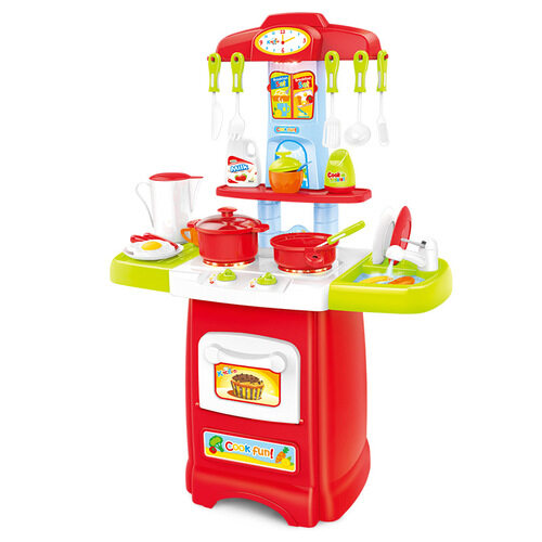 Kids Kitchen Play Set [62cm] with Lighting Sound And Water Function [24Pcs]- Red toys for girls