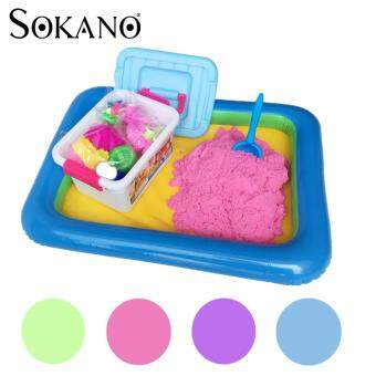 Harga SOKANO 2kg Coloured Kinetic Sand With Container, Molds And Inflatable Tray-Pink