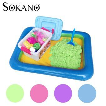Harga SOKANO 2kg Coloured Kinetic Sand With Container, Molds AndInflatable Tray-Green